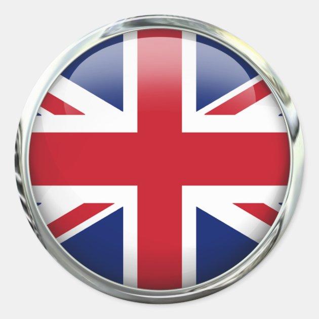 British Flag Union Jack Round Stickers Pack Zazzle