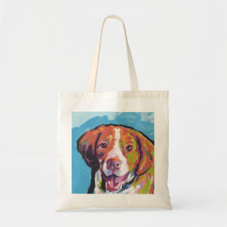 Brittany spaniel Dog fun bright pop art Tote Bag
