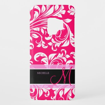 Broadway Pink and white floral damask w/ monogram Case-Mate Samsung Galaxy S9 Case