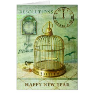 Bronze Birdcage Greeting Cards