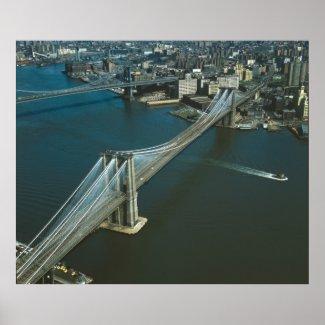 Brooklyn Bridge Aerial Photograph Print