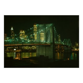 Brooklyn Bridge at Night Photograph Poster