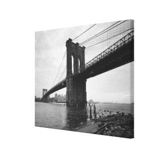 Brooklyn Bridge Black and White Photograph Canvas Print