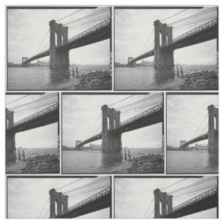 Brooklyn Bridge Black and White Photograph Fabric