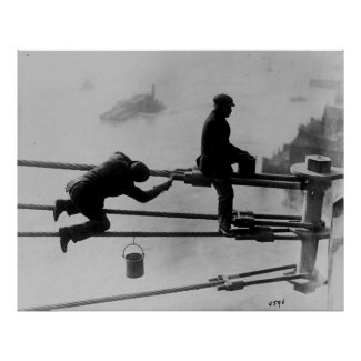 Brooklyn Bridge Painters Vintage Photograph (1915) Print