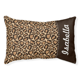 Brown and Leopard Print Custom Monogram Small Dog Bed