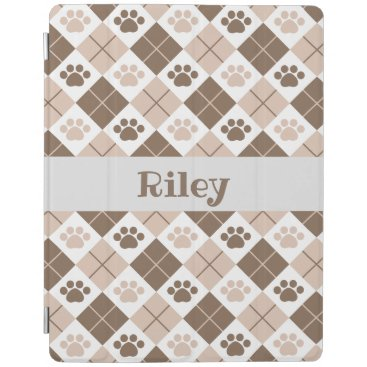 Brown and Tan Argyle Paw Print Pattern iPad Smart Cover