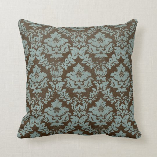 Brown and Teal Distressed Damask Throw Pillow  Zazzlecom