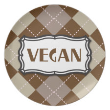 Brown Argyle Vegan Pride plate