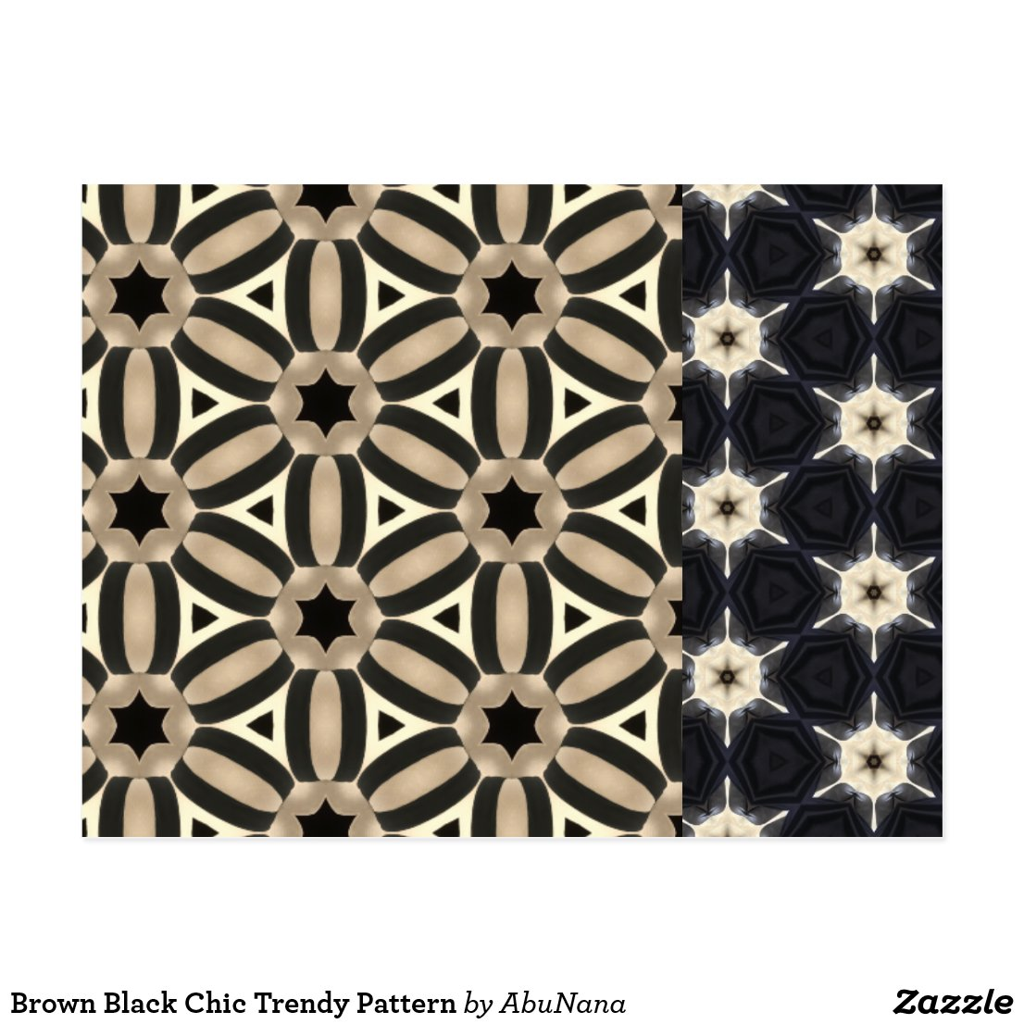 Brown Black Chic Trendy Pattern Postcard