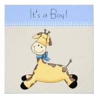 Brown Blue Giraffe Baby Boy Shower Card