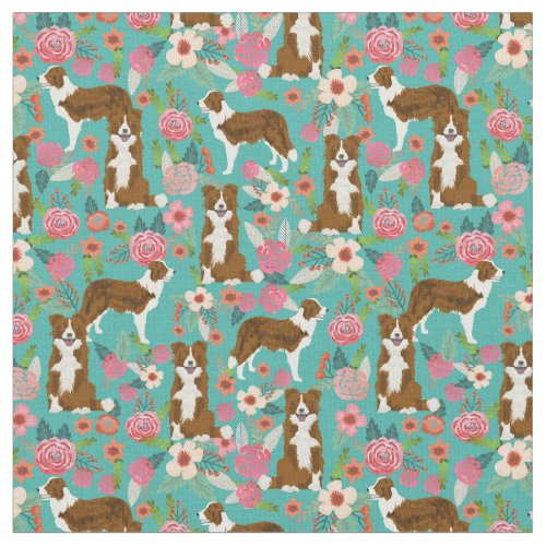 brown border collie dog vintage florals turquoise fabric