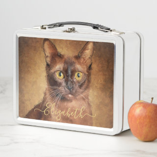 Brown Burmese Cat Portrait Personalized Metal Lunch Box