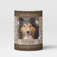 Brown Calligraph Swirls Custom Pet Sympathy Pillar Candle
