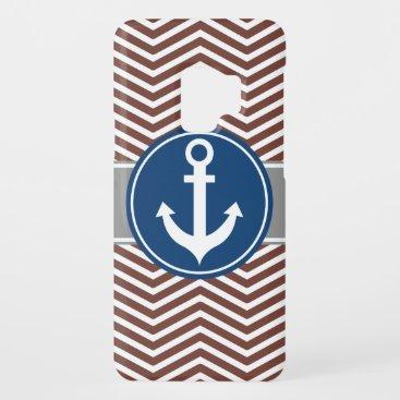 Brown Chevron Nautical Anchor Case-Mate Samsung Galaxy S9 Case