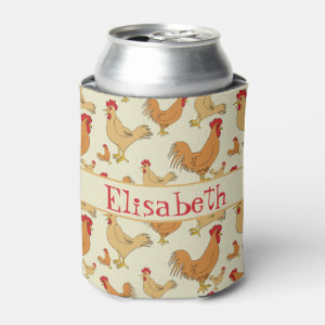 Brown Chicken Design Personalise Can Cooler
