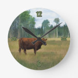 Brown Cow on a Horse and Cattle Ranch Round Clock