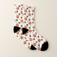 Brown Dog Pawprints Pattern Socks