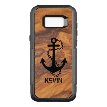 Brown Faux Wood & Black Nautical Boat Anchor OtterBox Commuter Samsung Galaxy S8  Case