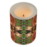 Brown Green Abstract Design Flameless Candle