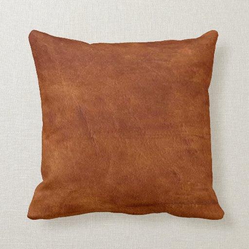 Brown Leather American MoJo Pillow Zazzle