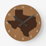 Brown Leather Look Texas Round Clocks
