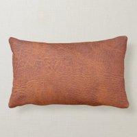 Brown leather lumbar pillow   Zazzle.com