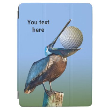 Brown Pelican with Golf Ball Customizable Text iPad Air Cover