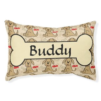 Brown Puppy Dog Graphic Design Personalize Small Dog Bed