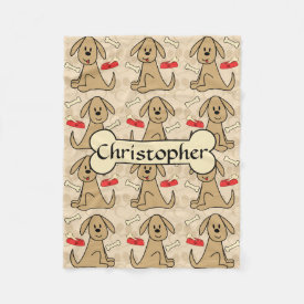 Brown Puppy Dog Graphic Design Personalize Fleece Blanket