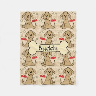 Brown Puppy Dog Graphic Design Personalize Fleece Blanket