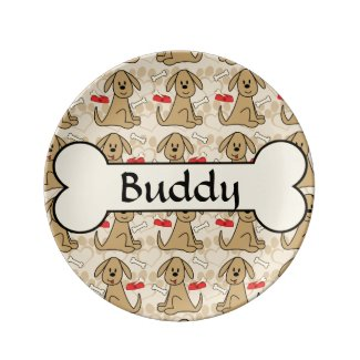 Brown Puppy Dog Graphic Design Personalize Porcelain Plates