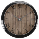 Brown Rustic Beautiful Wood Texture Fish Tank Clocks