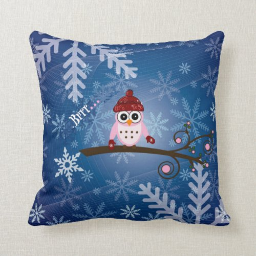 Brrr...Pink Owl, Snowflake Design Throw Pillow