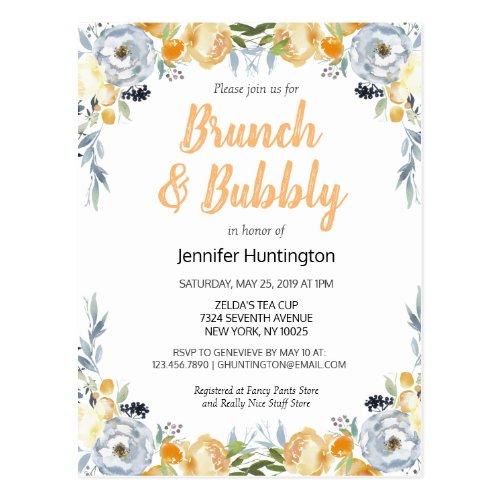 Brunch &amp&#x3B; Bubbly Bridal Shower Floral Boho Postcard