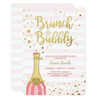 Brunch Bubbly Bridal Shower Invitation Pink Gold