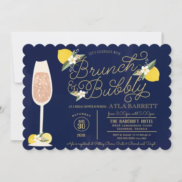 Retro touches and beautiful florida weather make for a fun and festive outdoor bridal shower hot pink and turquoise, flamingos, retro table settings and a beckoning swimming pool make for an ideal florida shower. Brunch Bubbly Lemon Gold Navy Blue Bridal Shower Invitation Zazzle Com