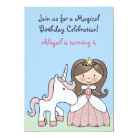 Brunette Princess and Unicorn Birthday Invitation
