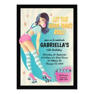 Brunette Retro Roller Skating Birthday Party Invitation