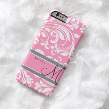 Bubbblegum Pink and White Floral Damask Barely There iPhone 6 Case