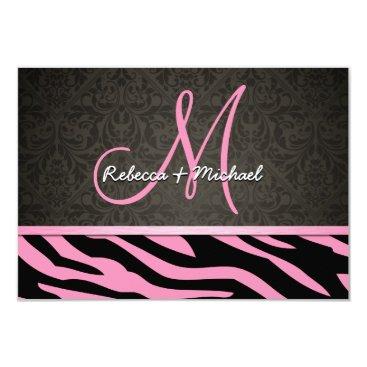 Bubblegum Pink and Black Zebra Stripes RSVP Cards