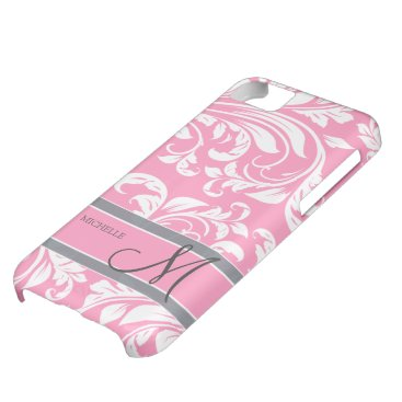 Bubblegum Pink and white floral damask w/ monogram iPhone 5C Case
