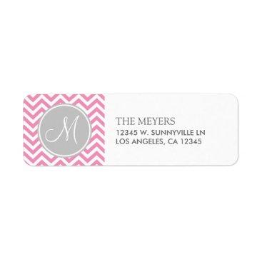 Bubblegum Pink & Gray Modern Chevron with Monogram Label