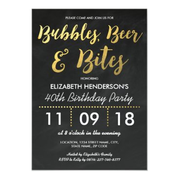 Bubbles, Beer & Bites Adult Birthday Party Invitation