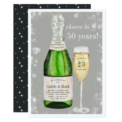 Bubbly Toast | Any Year Anniversary Party Invitation