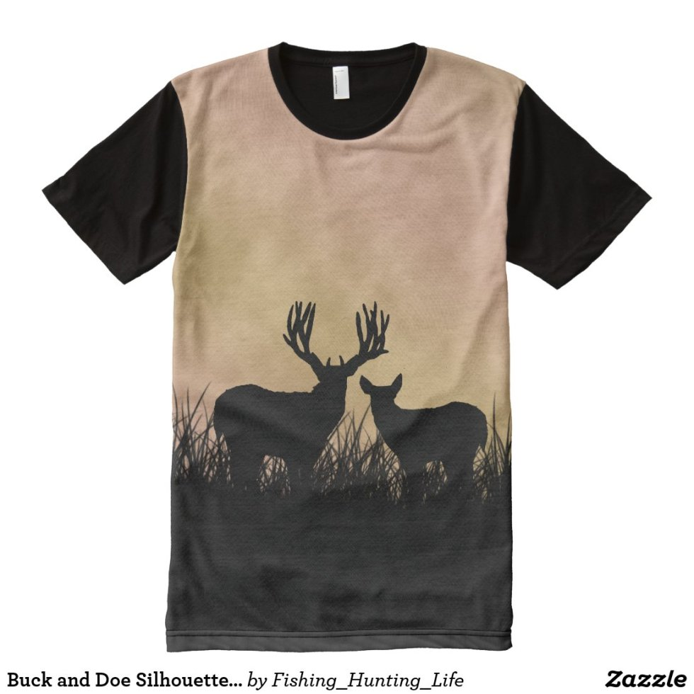 Buck and Doe Silhouette Hunting All-Over-Print Shirt