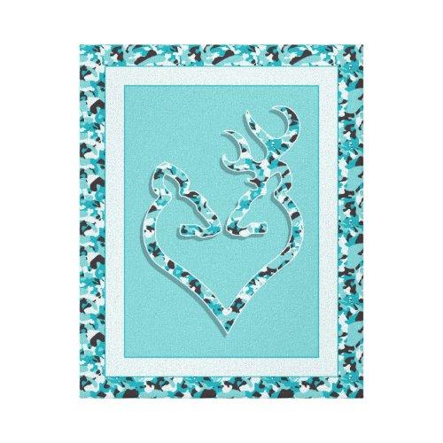Buck & Doe Camo Heart Canvas Print