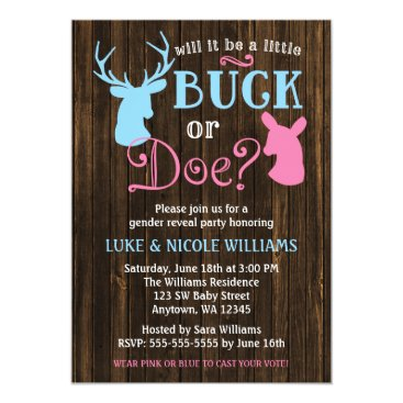Buck or Doe Gender Reveal Party Baby Shower Invitation