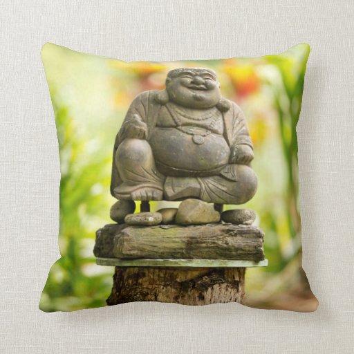 Buddha in Hawaiian Garden throw pillow