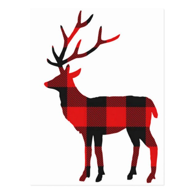 Buffalo Plaid Deer Postcard Zazzle